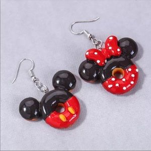 New Mickey & Minnie Mouse Donut Earrings